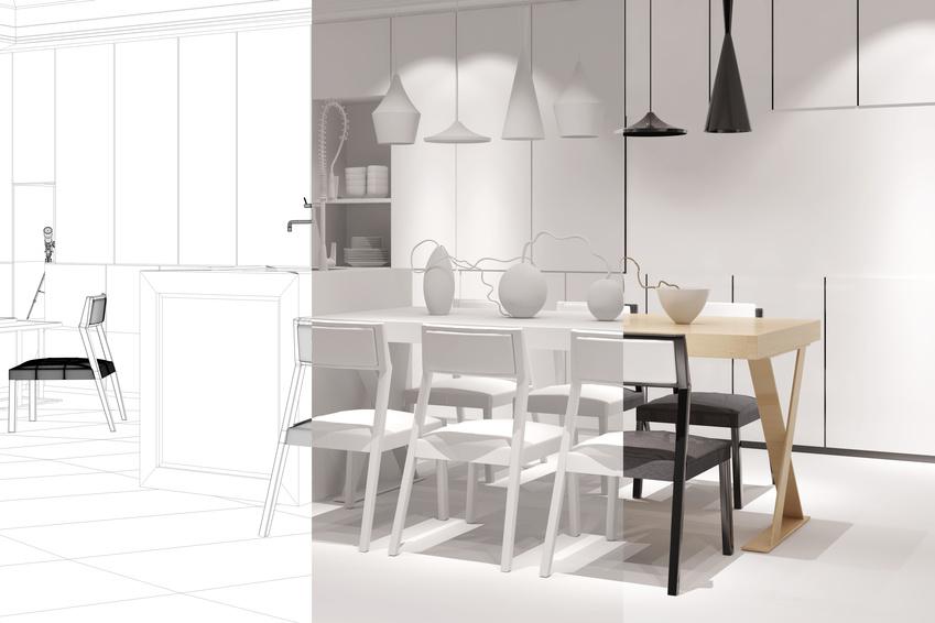Offene Wohnküche mit Esstisch planen in einem modernen Raumplaner